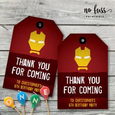 Ironman Birthday Thank You Tag    Favour Tag    Editable   Printable   Instant Download by NoFussPrintable on Etsy