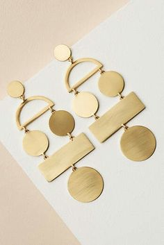 gold brass graphic earrings