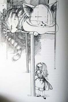 Alice in Wonderland illustrated by Ralph Steadman, 1968 - Via The Art of Children's Picture Books