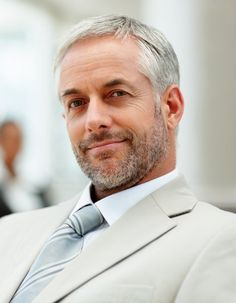short grey straight Multi-Tonal mature Mens office hairstyles for men