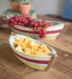 Take your next summer party for a nautical spin with these Ceramic Boat Serving Bowls! Great beachy party idea.