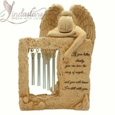 """To provide comfort and support to an aching soul, present a monumental keepsake. Order this Wings of Bereavement statue to pay homage to the family and beloved ones.  Every time the wind will play the metal chimes, the rhymes produced will serve as a reminder that our angels are always with us, and offer comfort in times of grief. You can stay assured because """"If you listen closely, you can hear the song of angels and you will know I am still with you""""…"""