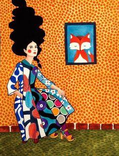 """soundless"" watercolour on paper) Art Pop, Art Beat, Klimt, Illustrations And Posters, Portrait Art, Watercolor Illustration, Cool Artwork, Female Art, Collage Art"