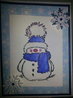 Penny Black snowy stamp.  Martha Stewart  snowflake punch