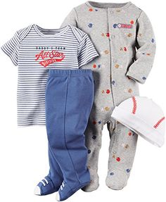 Carters Baby Boys Daddys AllStar 4Piece Layette Set  heather gray 9 months * Be sure to check out this awesome product.