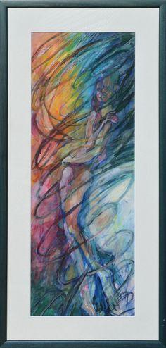 Miro Pribiš - Jedno telo, váječná tempera na papieri, 89 x 32 cm / 109 x 52 s rámom /, 2007
