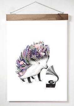 "A3 Adelina Lirius ""Flourishing Hedgehog"" Taideprintti/juliste/poster Hedgehog, Print Patterns, Moose Art, Art Prints, A3, Artwork, Poster, Animals, Shop"