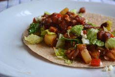 Veggie tacos from 'a rented kitchen'!   peppers, potatoes, onions, spices, delicoius! and vegan and gluten-free friendly