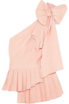 SEA - Bow-embellished One-shoulder Poplin Top - Pastel pink