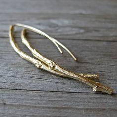 SALE Twig Earrings in Yellow Gold SALE by kristincoffin on Etsy, $650.00