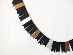 Black Silver Gold Garland New Years Garland Gold Bunting Skinny Flag Fringe Garland Shiny Over The Hill