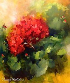 """Red Geraniums, a Haunted House and Evening Fireflies by Floral Artist Nancy Medina"" - Original Fine Art for Sale - © Nancy Medina"
