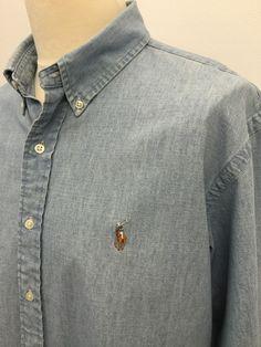 Polo #RalphLauren #Mens #Denim #Shirt / XXL / Custom Fit / Light Denim Blue #menswear #mensfashion #mensstyle #macmenswear