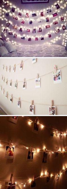 Polaroid Wall With String Lights   24 DIY Teenage Girl Bedroom Decorating Ideas