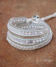 White mix wrap bracelet with chain Boho bracelet by G2Fdesign
