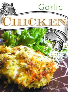 This tasty garlic chicken is so flavorful! Crispy on the outside, tender and juicy on the inside. This is also really yummy sliced and served over salad. Turkey Dishes, Turkey Recipes, Meat Recipes, Chicken Recipes, Dinner Recipes, Cooking Recipes, Cooking Stuff, Baked Garlic Chicken, Garlic Parmesan