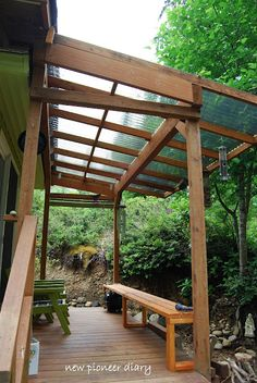 I pinned this because I was thinking about the clear plastic roofing- nice to let some light n on the deck.