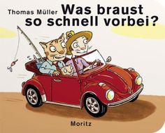 Autobücher gibt es viele. Aber was hier auf ein, zwei, drei oder vier Räder vorbeirauscht, ist einzigartig! Ein Auto ist hier nicht einfach ein Auto, es ist ein Kleinwagen, Cabriolet, Geländewagen, Straßenkreuzer oder eine alte Rostlaube. Dazwischen düsen Tretautos, Motorräder (mit und ohne Beiwagen), Rennräder, Rutschautos, Dreiräder… Und sie alle machen halt vor dem wohl verheißungsvollsten Gefährt: dem Eisauto. Wie schön! Thomas Müller, Was braust so schnell vorbei? Moritz Verlag. Ab 2.