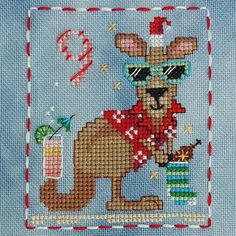 Animal Advent Calendar Day 9 Kenny Kangaroo.  Counted Cross Stitch. 2016