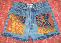"GUESS 80's High Waisted Denim Festival Shorts BATIK Patch Hippy S or M 30"" Waist"