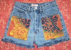 "GUESS 80's High Waisted Denim Festival Shorts BATIK Patch Hippy S or M 30"" Waist"