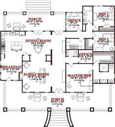 2366 square feet 3 bedrooms 2 5 bathroom plantation house plans 2 garage - DreamHouse Plan - Easy Home Plans House Plans One Story, New House Plans, Dream House Plans, Story House, House Floor Plans, Dream Houses, Four Bedroom House Plans, Unique House Plans, The Plan
