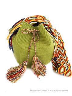 Green Authentic Wayuu Bag  Wayuu Mochila Bag by loveandlucky, $89.00