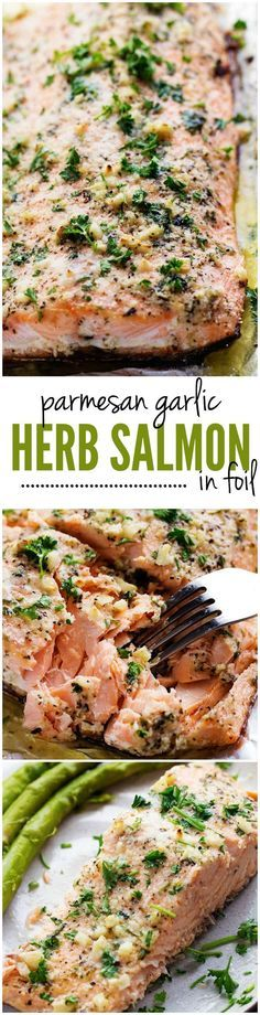 Salmon that is baked in foil and brushed in a Parmesan Garlic Herb Marinade. It seals in the amazing flavor and cooks the salmon to tender and flaky perfection!: