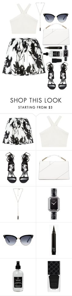 """""""Black&white summer look"""" by paulinako ❤ liked on Polyvore featuring Thakoon, BCBGMAXAZRIA, Stuart Weitzman, Jason Wu, Natalie B, Chanel, Gucci and Little Barn Apothecary"""