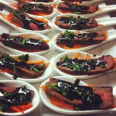 Sirloin beef spoons with balsamic reduction. Great as an appetizer at a dinner party!