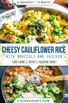 The ultimate one pan keto meal. Cheesy Cauliflower Rice with the delicious combo of rice and chicken. Filling and satisfying. It needs just 8 simple ingredients and only 25 minute total! Can't beat that. Low-Carb. Keto. Gluten-Free.  #keto #recipe #recipeideas #chicken #ketorecipes #ketorecipeseasy #lowcarb #lowcarbrecipes #onepanrecipe #onepandinner #chickenrecipe #chickendinnerrecipes #healthyrecipe #glutenfree #glutenfreerecipes #easylowcarb #easyrecipe #easyketorecipes Vegetable Side Dishes, Low Carb Side Dishes, Side Dish Recipes, Side Dishes Easy, Keto Recipes, Healthy Dinner Recipes, Cooking Recipes, Gluten Free Recipes, Ketogenic Recipes