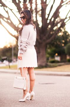 cute & little | petite fashion blog | grey ruffle trim fuzzy sweater, white scallop skirt, ivory quilted fleming bag, white pumps, lipsense lexi beary | winter work outfit