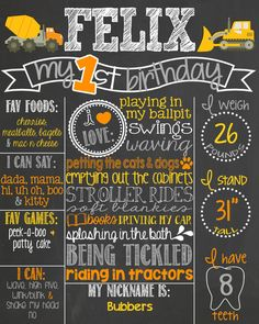Construction Theme Birthday Chalkboard Poster // Under Construction // Construction Birthday by PersonalizedChalk, $37.00
