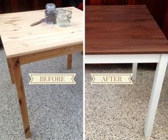 Click thru to blog post to find out: 1. How to transform a raw wood IKEA Table. 2. How to mix and apply a stain using MMSMP. 3. How MMSMP Hemp Oil can beautify a finish. 4. Transforming an UGLY space!