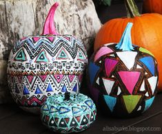 """Artist: Alisa Burke ~ Geometric Painted Pumpkins ~ """"First up are geometric painted pumpkins. I am obsessed with geometric (and tribal) patterns so I used acrylic paint to transform the surface of three pumpkins withe different geometric variations."""""""