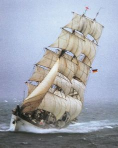 """""""The SSS Gorch Fock II is a three-masted, steel-hulled barque launched in I've been lucky enough to go aboard this beautiful vessel in Amazing ship Moby Dick, Old Sailing Ships, Full Sail, Boat Names, Old Boats, Sail Away, Set Sail, Submarines, Wooden Boats"""