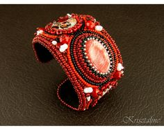 Krisztaline.com  Little Red Riding Hood Bead Embroidered Cuff