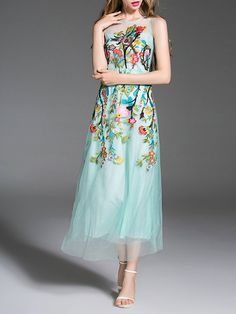 Shop Midi Dresses - Aqua Sleeveless Polyester A-line Midi Dress online…