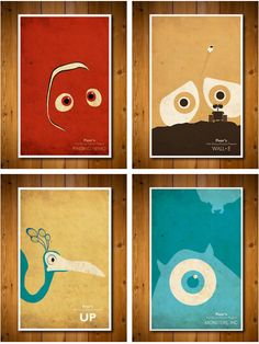 Pixar- movie posters, love the way they blend in with the background!