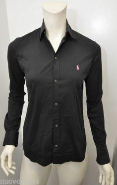065c8c446272d Womens Ralph Lauren Black Pink Horse Logo Longsleeve Button-up Collar Shirt  Sz 2 Horse