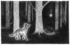 the fox and the secret print by littlevagaries on Etsy Stippling, Gifts For Kids, Giraffe, Monochrome, All Things, I Shop, The Secret, Fox, Scene