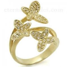 Cubic Zirconia Gold Plated Butterfly Ring