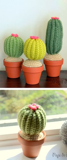 The great thing about yarn plants is that you don't need to water them. Start your crochet succulent garden with this adorable crochet cactus pattern! Diy Crochet Cactus, Crochet Cactus Free Pattern, Cactus Pattern, Crochet Diy, Crochet Amigurumi, Crochet Flowers, Crochet Mignon, Cactus Craft, Amaryllis