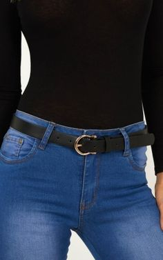A simple black belt is a wardrobe essential! Refresh your collection with this unique shaped buckle. Black Belt, Gold Hardware, Skinny Jeans, Fashion Tips, Shopping, Heart, Closet, Skinny Fit Jeans, Armoire