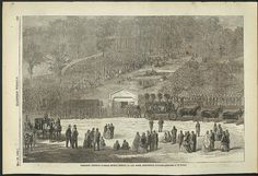 Harper's Weekly sketch from May 25, 1865 capturing President Lincoln's burial service at Oak Ridge, Springfield, Illinois.