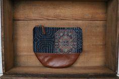 "This beautiful Large size Kimono × Leather Wallet is made of my favorite Indigo-blue Vintage Japanese woven "" Kasuri "" Kimono fabric ( 100% Silk ) and Beautiful Italian brown leather."