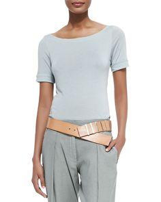 Graduated Leather Hip Belt, Natural - Donna Karan