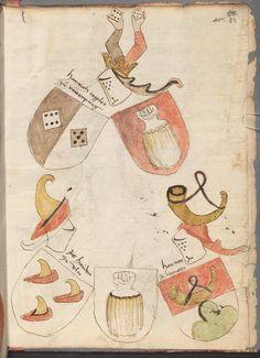 Mair, Hans: Trojanischer Krieg Schwaben, 1393 Cgm 342  Folio 167 Crests, 14th Century, Image, Family Crest