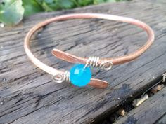 Large Copper And Sterling Silver Bangle by BeadingonaBudget