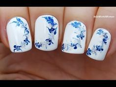 NEEDLE NAIL ART #14 - WINTER Drag Marble Nails Tutorial - YouTube